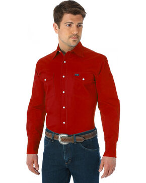 Men's Wrangler Advanced Comfort Work Shirt, Red, hi-res