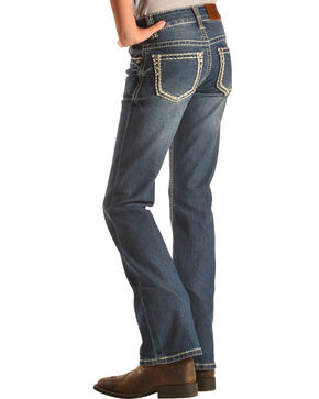Cowgirl Hardware Girls' Stitched Rim Bootcut Jeans , Indigo, hi-res