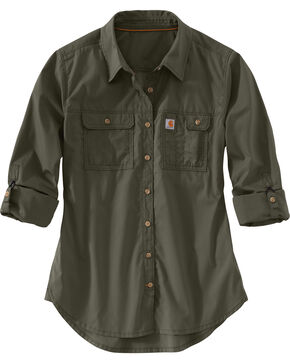 Carhartt Women's Force Ridgefield Shirt , Olive, hi-res