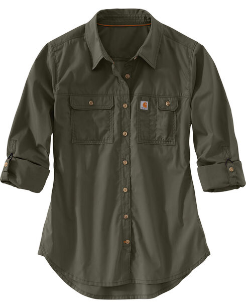Carhartt Women's Force Ridgefield Shirt , Olive, hi-res
