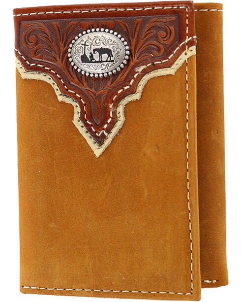 Cody James® Men's Tri-Fold Leather Wallet, Brown, hi-res