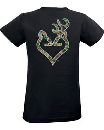 Browning Women's Mossy Oak Country Buckheart Black Short Sleeve Tee, , hi-res