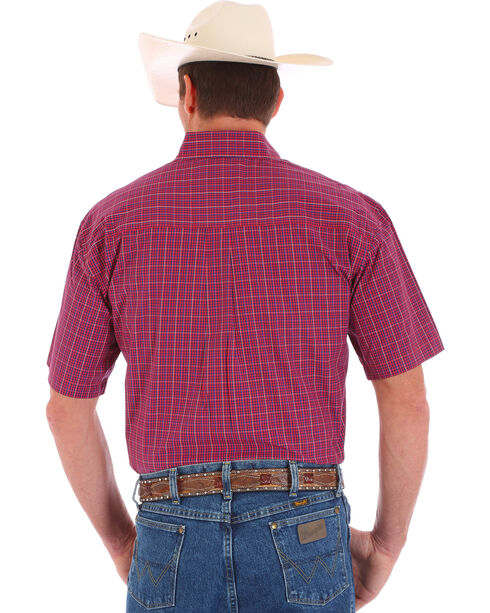 Wrangler Men' s Red George Strait Short Sleeve Shirt, Red, hi-res