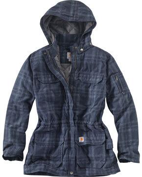 Carhartt Women's Gallatin Quilt Flannel Coat, Blue, hi-res
