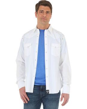 Wrangler Rock 47 Men's White Embroidered Long Sleeve Snap Shirt, White, hi-res
