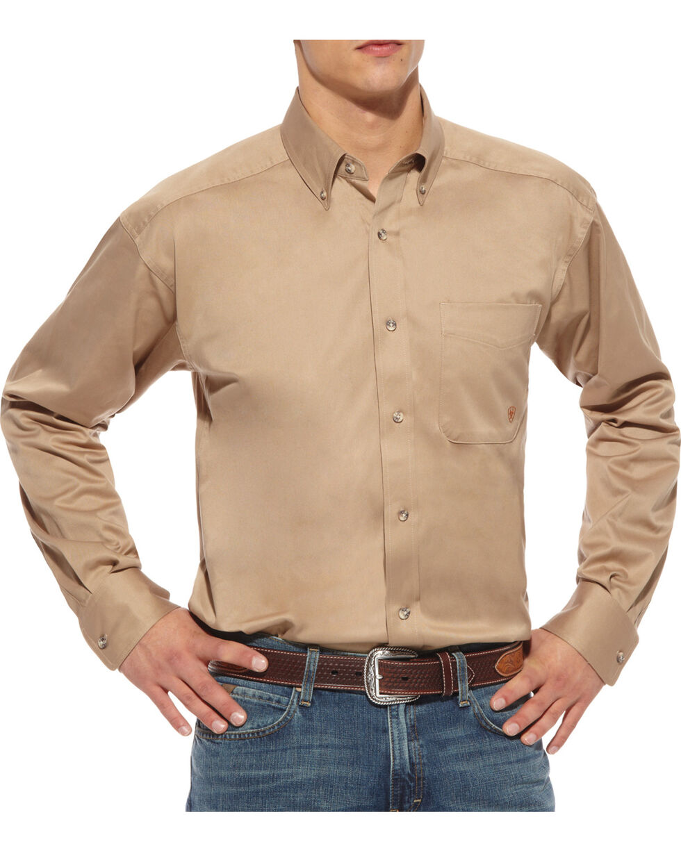 Ariat Khaki Twill Cowboy Shirt - Big and Tall, Khaki, hi-res