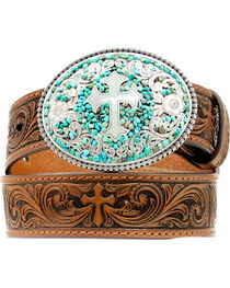 Nocona Kids' Swirling Turquoise Stone Buckle Swirling Cross Embossed Belt, , hi-res