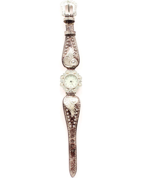 Bedecked Heart & Wing Concho Watch, Black, hi-res