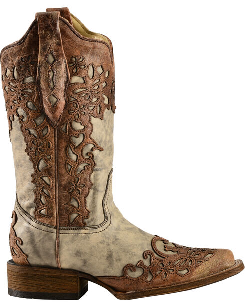 Corral Women's Flower Overlay Square Toe Fashion Boots, Sand, hi-res
