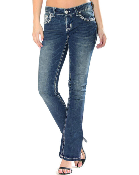 Grace in LA Women's Indigo Easy Fit Medallion Pocket Jeans - Boot Cut , Indigo, hi-res