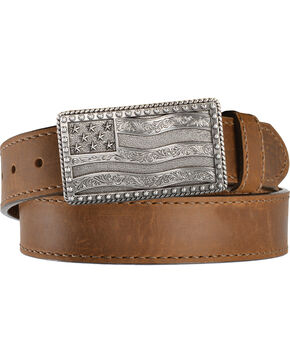 Justin Men's Flying High Leather Belt with Flag Buckle, Brown, hi-res