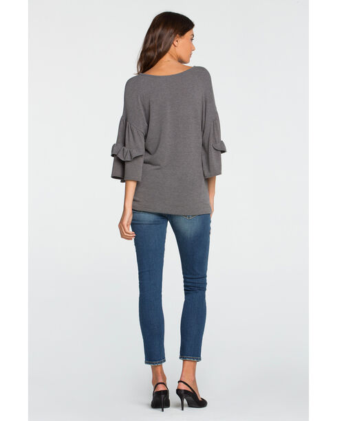 Miss Me Women's Grey Tier It Up Top , Grey, hi-res