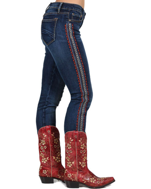 Drift Wood Women's Audrey Embroidered Straight Leg Jeans, Blue, hi-res