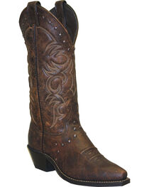 "Abilene Women's 12"" Nailhead Western Boots, Brown, hi-res"