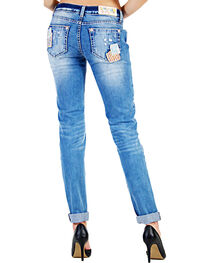 Grace in LA Women's Patched Skinny Jeans, , hi-res