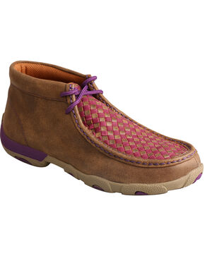 Twisted X Women's Checkered Driving Mocs, Brown, hi-res