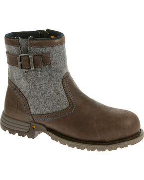CAT Women's Jace Steel Toe Work Boots, Brown, hi-res