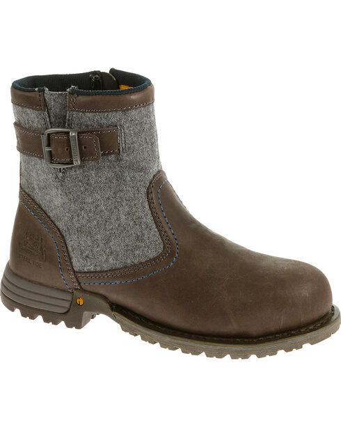 CAT Women's Jace Steel Toe Work Boots, Brown, hi-res