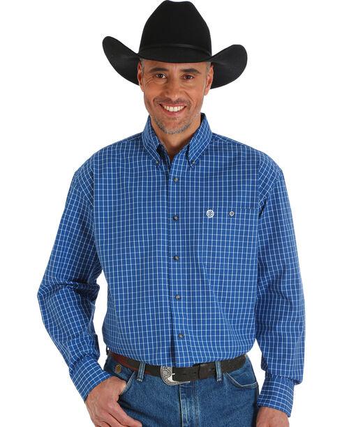 Wrangler George Strait Men's Printed Poplin Plaid Button Shirt, Blue, hi-res