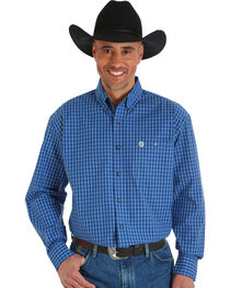 Wrangler George Strait Men's Printed Poplin Plaid Button Shirt - Big & Tall, , hi-res