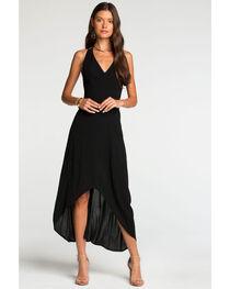 Miss Me Women's Black Strappy Hi-Lo Maxi Dress , , hi-res