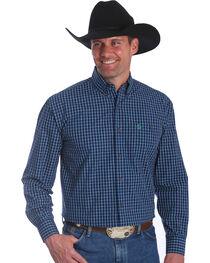 Wrangler Men's Navy George Strait Button Down Plaid Shirt, , hi-res