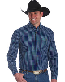 Wrangler Men's Navy George Strait Button Down Plaid Shirt - Big & Tall , , hi-res
