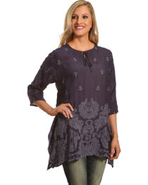 Johnny Was Women's Blue Gravel Paisley Flair Blouse, , hi-res