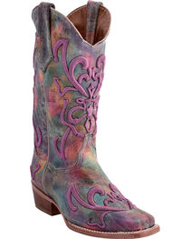 Ferrini Women's Hippy Tye-Dye Purple Stitched Western Boots - Square Toe, , hi-res