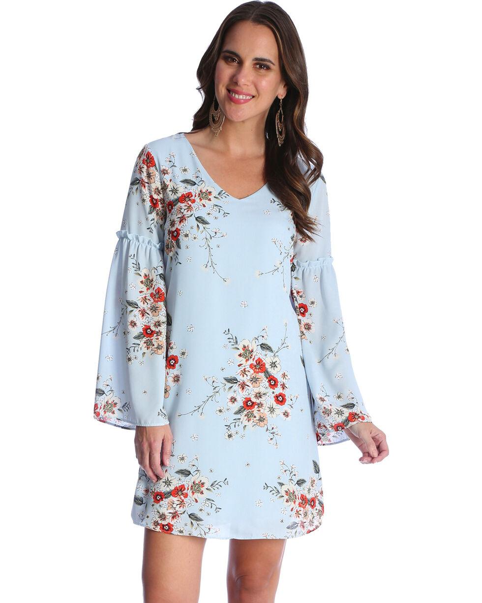 Wrangler Women's Blue Floral Print Trumpet Sleeve Dress , , hi-res