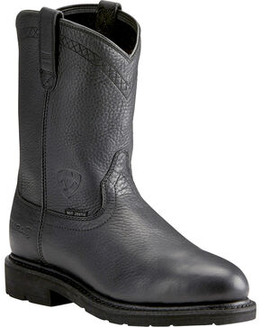 Ariat Sierra Men's Black Work Boots - Steel Toe, Dark Brown, hi-res