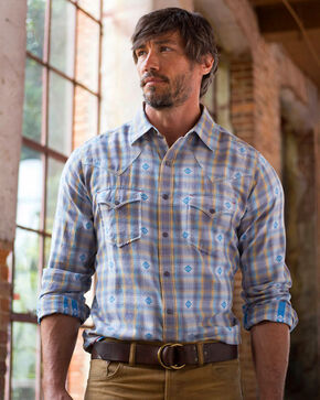 Ryan Michael Men's Blue Corn Ombre Dobby Plaid Shirt , Blue, hi-res