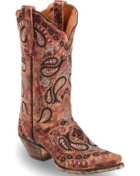 Dan Post Women's Heavy Embroidery Western Boots - Snip Toe, Red, hi-res