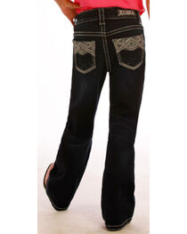 Rock & Roll Cowgirl Girls' Dark Wash Embroidered Jeans - Boot Cut , , hi-res