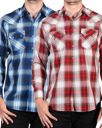 Ely Cattleman Men's Assorted Textured Plaid Shirt - Tall , , hi-res
