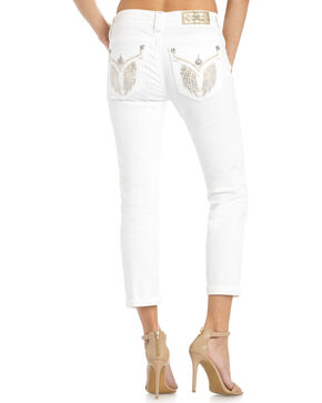Miss Me Women's Spread The Love Mid-Rise Capris, White, hi-res