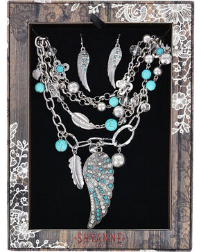 Shyanne® Women's Turquoise Wings Jewelry Set, Silver, hi-res