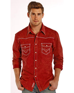 Rock & Roll Cowboy Men's Vintage Western Long Sleeve Shirt, Red, hi-res