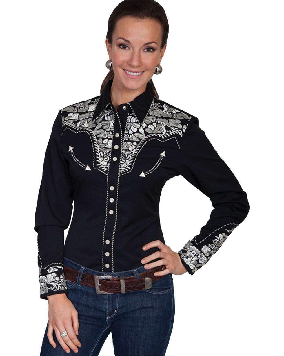 Scully Women's Silver Western Embroidered Shirt , , hi-res