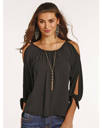 Rock & Roll Cowgirl Women's Cold Shoulder Tie Sleeve Top, , hi-res