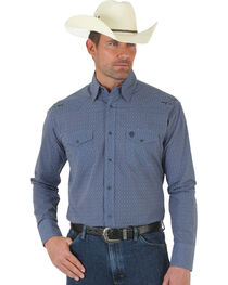 Wrangler George Strait Troubadour Blue Jacquard Shirt - Tall, , hi-res