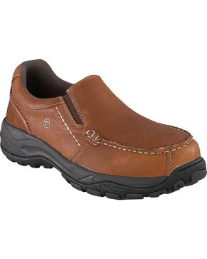 Rockport Works Extreme Light Slip-On Oxford Work Shoes - Composition Toe, Brown, hi-res
