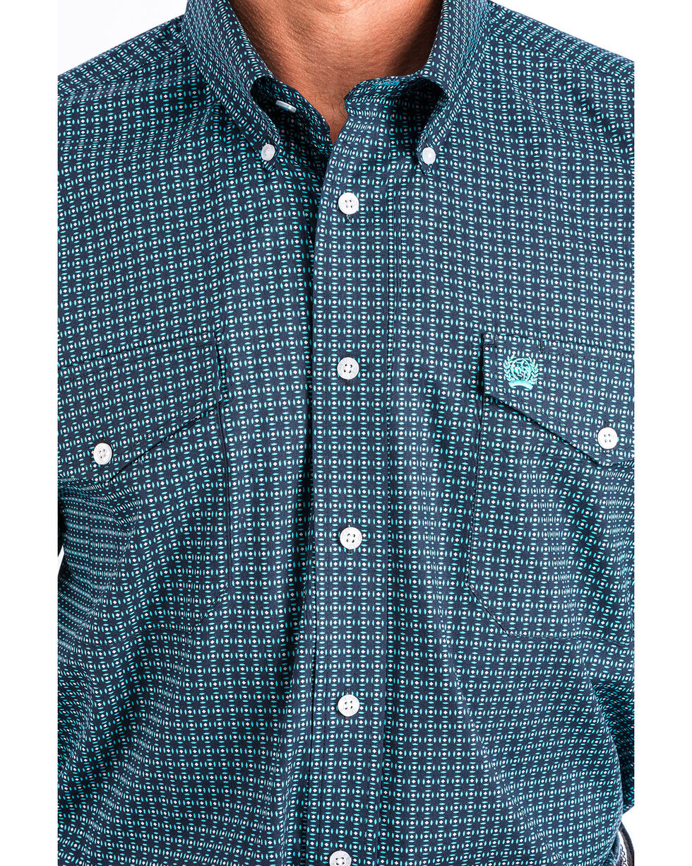 Cinch Men's Navy Geo Printed Long Sleeve Shirt, Navy, hi-res