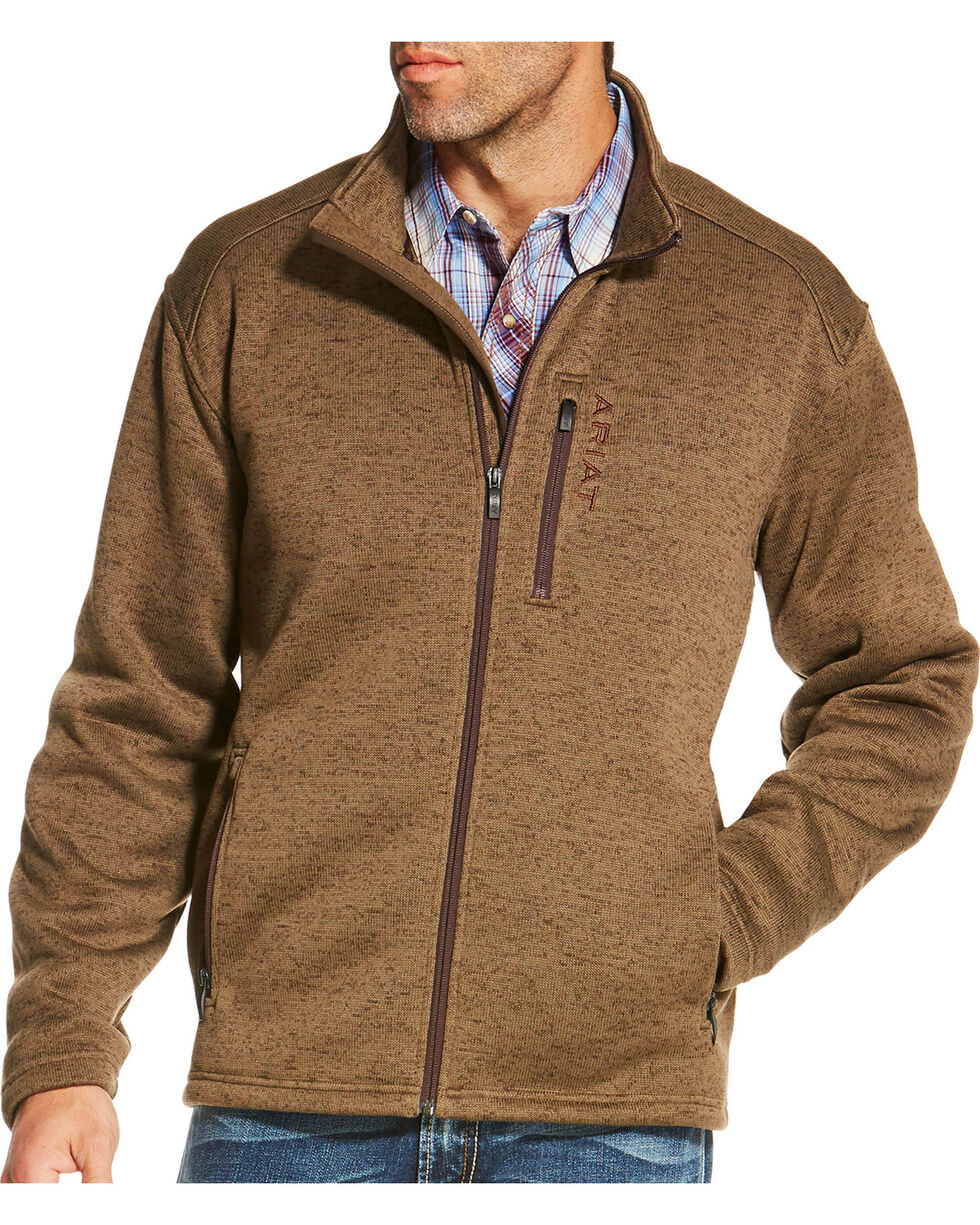Ariat Men's Light Brown Caldwell Full Zip Sweater Jacket, , hi-res