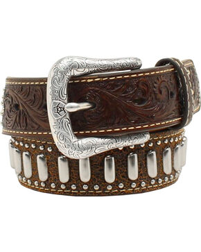 Ariat Boys' Floral Tooled Textured & Studded Belt, Brown, hi-res