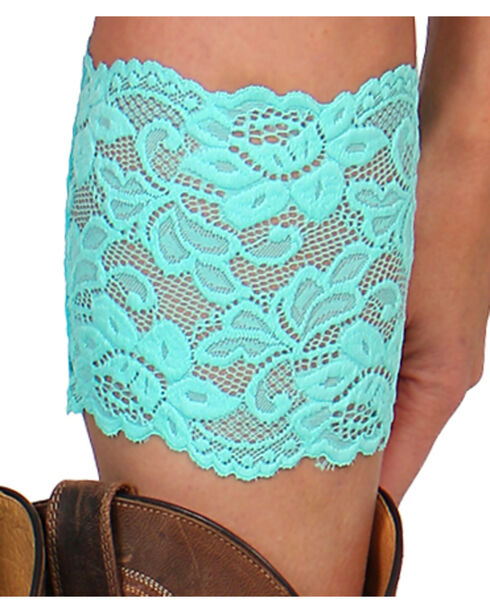 Shyanne® Women's Lace Stretch Boot Cuffs, Turquoise, hi-res