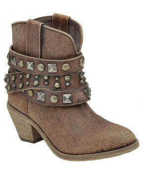 Circle G Women's Distressed Cognac Studded Ankle Boots - Round Toe, Cognac, hi-res