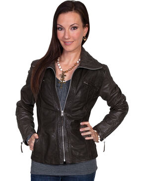 Scully Zip-Up Lamb Jacket, Black, hi-res