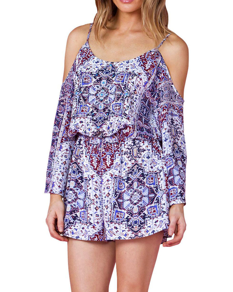 Miss Me Women's Blue Print Open Shoulder Romper, Blue, hi-res