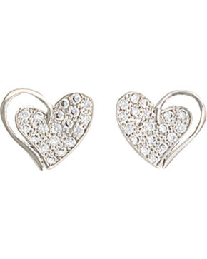 Montana Silversmiths Women's Heart Print Earrings , Silver, hi-res